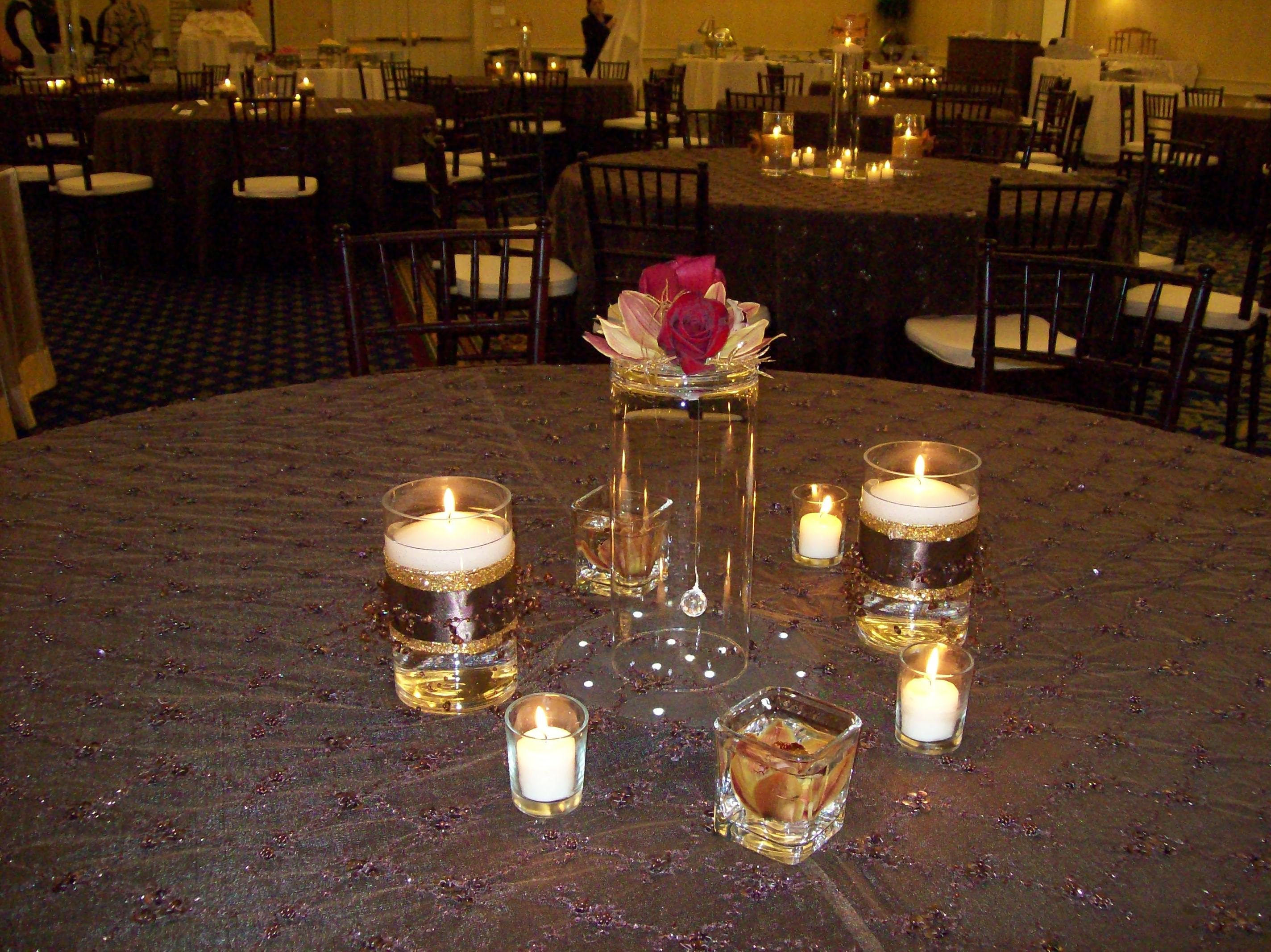The candle grouping below, and to the right, features a crystal