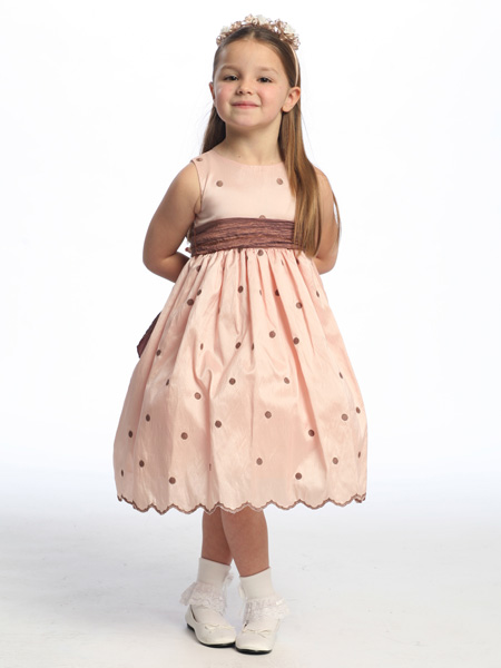 Flower girl dress in pink/brown