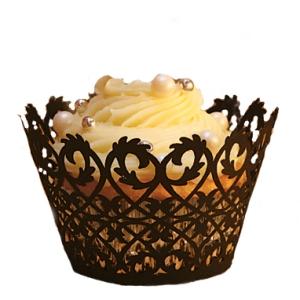 Black Filigree cupcake wrapper