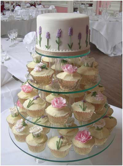 Wedding Cupcakes in Sweet Pea and Roses