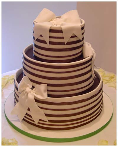 Satin Stripes Wedding Cake