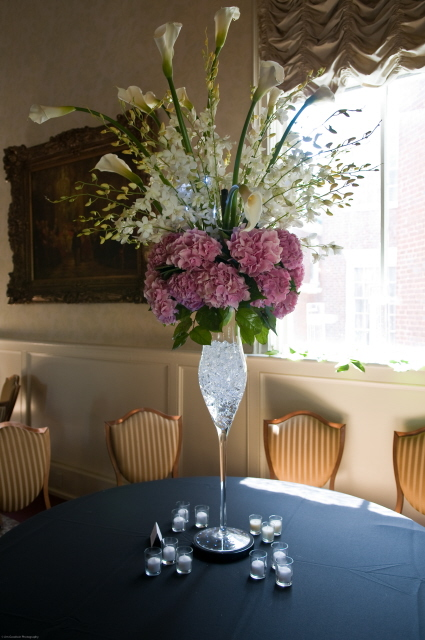 Hydrangea Dendrobium Orchids and Callas Centerpiece