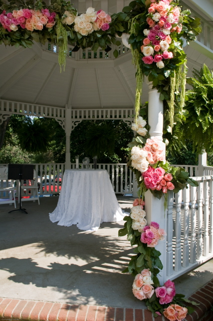 Roses on Gazebo with Lemon Leaf and Hanging Amaranthus
