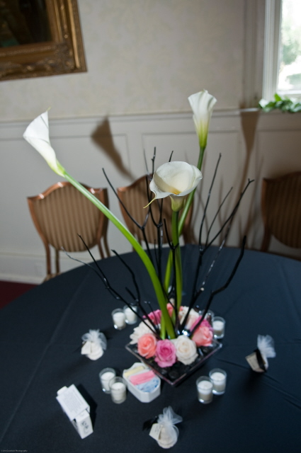 Birch Branches, Calla Lilies, and Roses Centerpiece