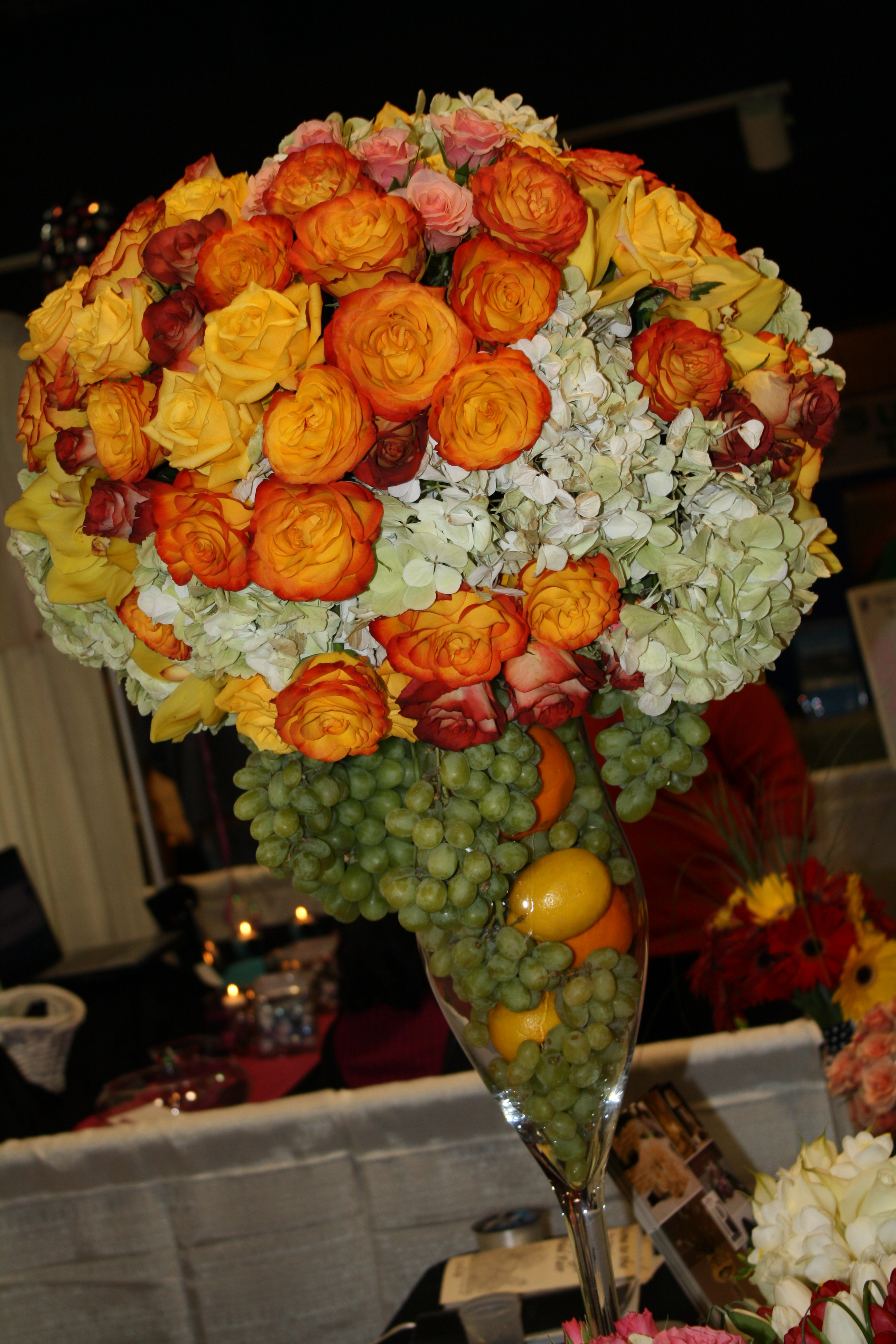 Including fruit in the buffet centerpiece is a lovely way to compliment the