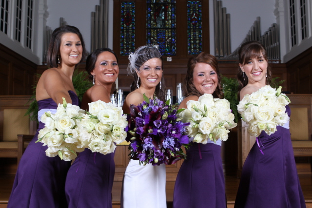 Purple and cream wedding bouquets These vintage bouquets are purple and