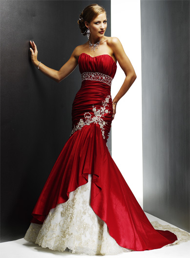 Options Red Embroidery Wedding Dresses and Other Colors