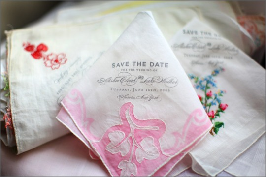 Vintage handkerchiefs used for save-the-date