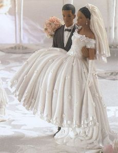 Hand Molded Bride and Groom Cake Topper