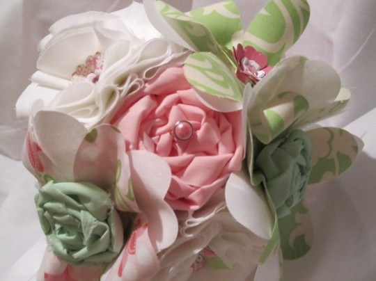 Fabric Flowers Bridal Bouquet
