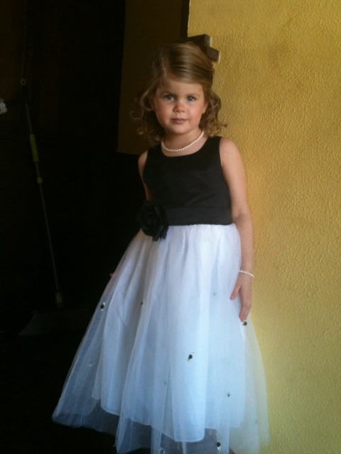 Black and white tulle flower girl dress