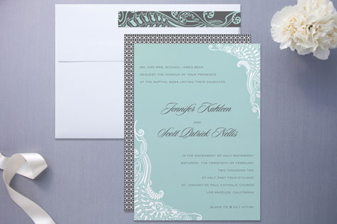 Tiffany Blue and lace invitation