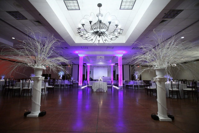 Crystals and bling add sparkle to a winter wedding i do for Ball room decoration